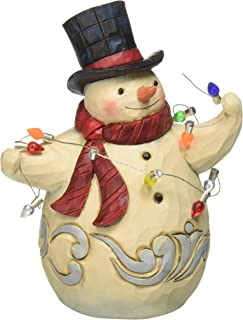 """Jim Shore Heartwood Creek Pint-Size Snowman Wrapped in Lights Stone Resin Figurine, 5"""""""