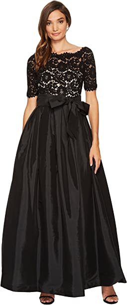 Vince Camuto - Lace/Taffeta Cold Shoulder Dress