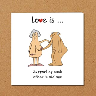 Funny Love Is Supporting Each Other in Old Age Card