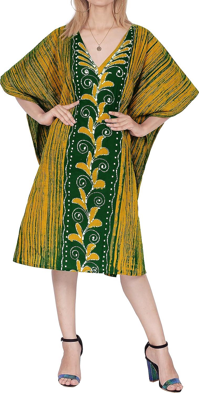 LA LEELA Women's Midi Caftan Evening Gowns Casual Dress Cover Ups Hand Batik B