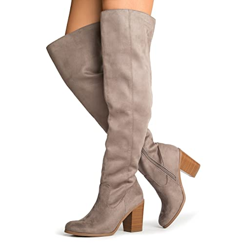 1ab8421df931 J. Adams Knee High Stacked Heel Boot – Comfortable Cushioned Dress High  Heel Shoes –