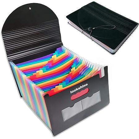 ドキュメントスタンド A4判 ヨコ 24ポケットファイル ケース オフィス 書類 収納 (カラー, 24分類)