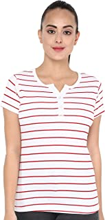 Veirdo 100% Cotton Striped Henly Neck T-Shirt for Women/Girls