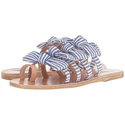 Ancient Greek Sandals Hara (Stripes Blue Vachetta/Print Cotton) Women