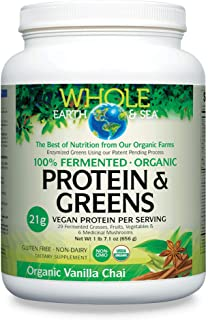 Whole Earth & Sea from Natural Factors, Organic Fermented Protein & Greens, Vegan Superfood Powder, Vanilla Chai Flavor, 1...