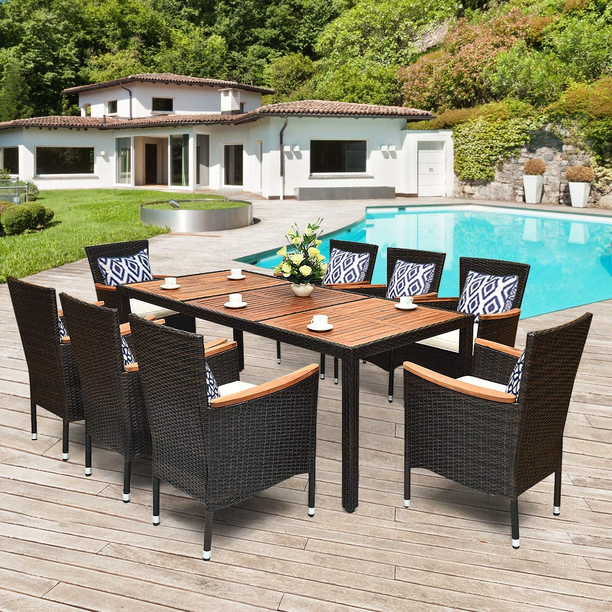 Tangkula 9 Piece Outdoor Dining Set, Garden Patio Wicker Set w/Cushions,  Patio Wicker Furniture Set with Acacia Wood Table and Stackable Armrest ...