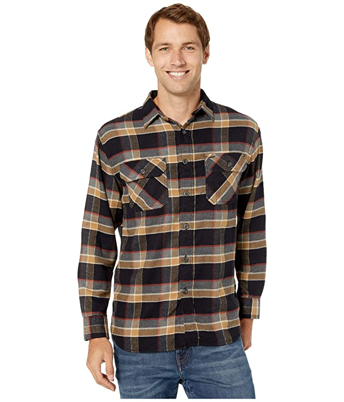 Brushed Flannel Shirt (Black/Grey/Red Plaid) Men's Clothing