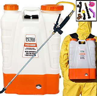 Petra 4 Gallon Battery Powered Backpack Sprayer – Extended Spray Time Long-Life Battery - 2 Wands Included, Wide Mouth Lid, Multiple Nozzles & Battery Included