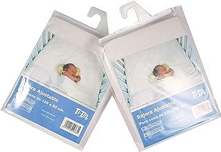 Ti TIN Pack de 2 Sábanas Bajeras para Maxicuna 100% Algodón | Lote de 2 Sábanas Bajeras Ajustables con Elásticos, 80x130 cm, 2 Sábanas Blancas