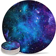 Set of 4 Coasters for Drinks, Absorbing Stone Space Galaxy Stars Celestial Planets Universe Ceramic Round Coaster with Cor...