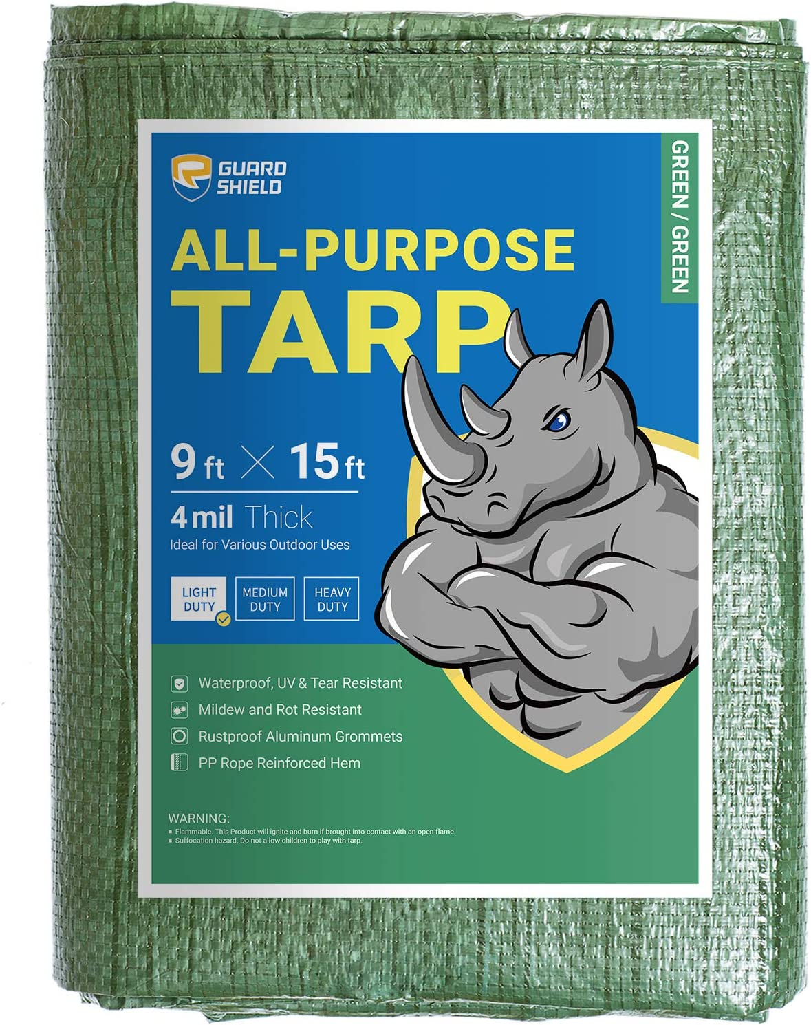 GUARD SHIELD Tarp 9x15 Feet Poly Los Angeles Mall Green Multi Waterproof Popular product Purpose