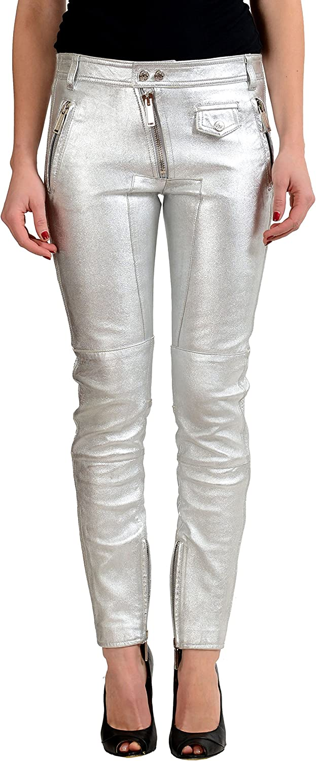 DSQUARED2 Women's Silver Distressed Look 100% Leather Pants US XS IT 38