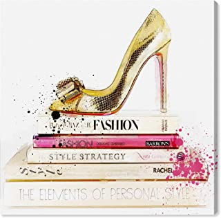 Gold Shoe and Fashion Books by Oliver Gal | Contemporary Premium Canvas Art Print. The Fashion Wall Art Decor Collection. 12x12 inch, Pink