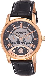 Akribos XXIV Men's Spirit Analogue Display Japanese Quartz Watch with Leather Strap
