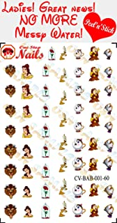 Beauty and the Beast clear vinyl Peel and Stick nail art decals (NOT Waterslide). Set of 60 by One Stop Nails CV-BAB-001-60.