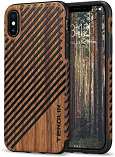 TENDLIN Compatible with iPhone Xs Max Case Wood Grain Outside Design and Flexible TPU Silicone Hybrid Slim Case Compatible...