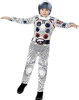 Smiffy's - Disfraz deluxe astronauta con mono y casco de impresión digital, color blanco (43180M) - 7 - 9 años