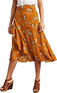 Floral Print Wrap Midi Skirt For Women Closet by Styli