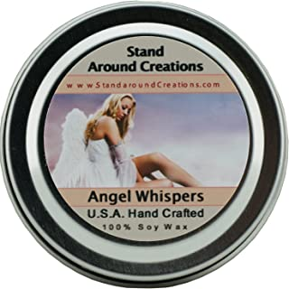 Premium 100% All Natural Soy Wax Aromatherapy Candle - 2oz Tin - Scent: Angel Whispers: This fragrance begins with top notes of green leafy ferns and sweet florals; followed by jasmine and white floral lily; sitting on a floral musk base note.