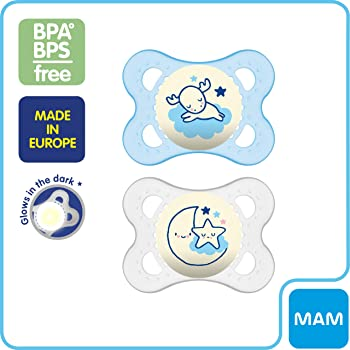 MAM Night Pacifiers (2 Pack, 1 Sterilizing Pacifier Case), MAM Pacifiers 0-6 Months for Baby Boy, Best Pacifier for B...