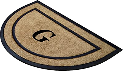Nedia Home Single Picture Black Frame with Half Round Coir Rubber Border Dirt Buster Mat, 24 by 36-Inch, Monogrammed G