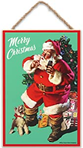 Open Road Brands Coca-Cola Merry Christmas Decoration - Vintage Santa with Dog Hanging Wood Wall Decor for Holiday Decorating or Gifting