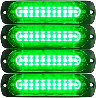 Primelux Emergency Lights for Vehicles – Green Strobe Lights for Trucks and Cars - 4.4-Inch 10 LED Ultra Slim Strobe LED Lighthead External Emergency Grille Surface Mounting Lights (4-Pack)