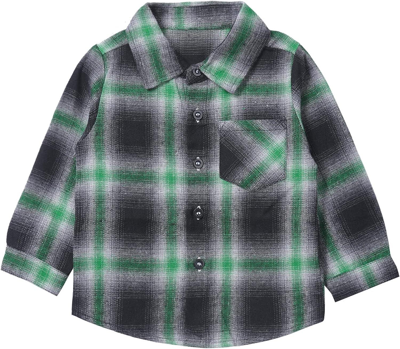 YOOJIA Toddler Baby Boys Girls Turndown Shi Flannel Large special Spasm price price Plaid Collar