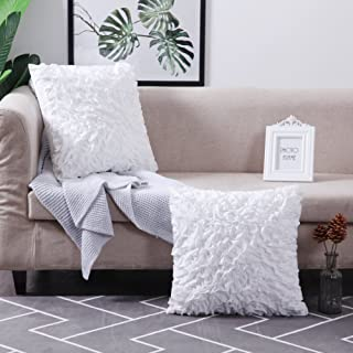 MoMA Decorative Throw Pillow Covers (Set of 2) - Pillow Cover Sham Cushion Cover - White Throw Pillow Cover - Decorative Sofa Throw Pillow Cover - Square Decorative Pillowcase - White - 18