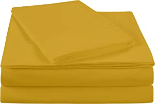 NC Home Fashions Ultra Soft Brushed Microfiber Solid Bed Sheet Set- Cotton Feeling-Deep Pockets - Easy Fit - Breathable & Cooling - Wrinkle, Fade, Stain Resistant-Queen, Spicy Mustard -4 Pieces