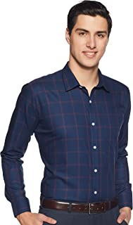 Amazon Brand - Symbol Men's Checkered Slim Fit Full Sleeve Cotton Formal Shirt