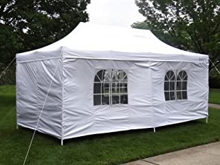 GigaTent White Pop Up Party Tent 10' x 20' - Rain and Waterproof, Adjustable Height Up to 130