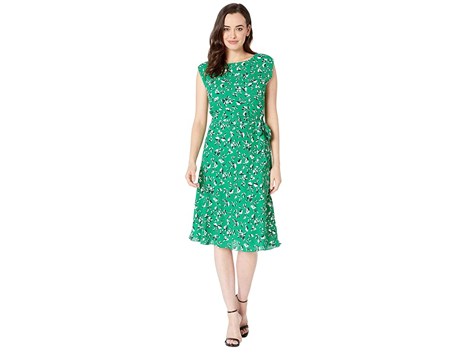 LAUREN Ralph Lauren Floral Georgette Dress (Cambridge Green Multi) Women