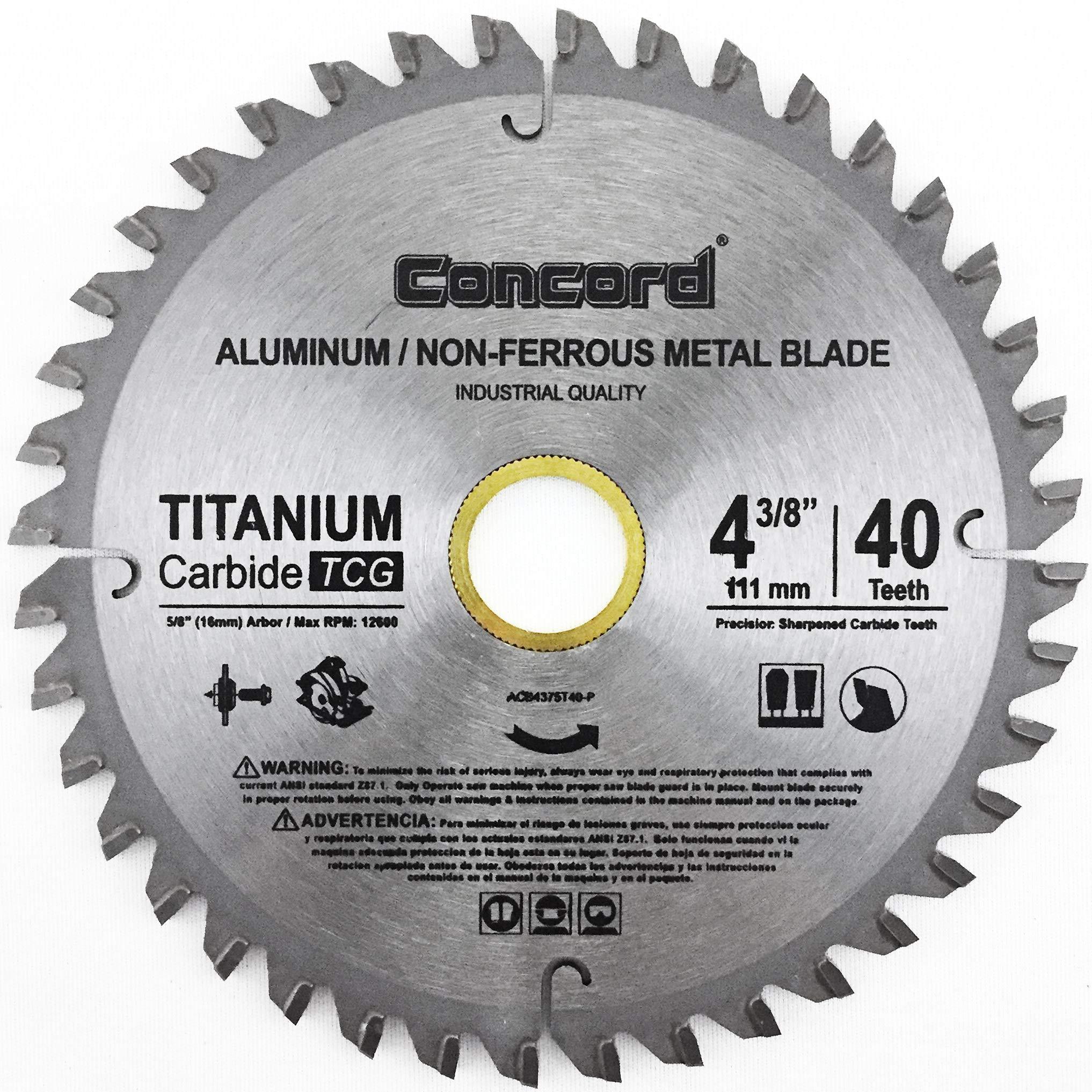 Concord Blades Acb0438t040hp 4 3 8 Inch 40 Teeth Tct Non Ferrous Metal Saw Blade Amazon Com
