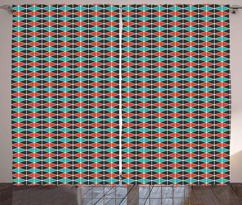 venta directa de fábrica ABAKUHAUS Geométrico Cortinas, Triángulos De Los Hexágonos, Hexágonos, Hexágonos, Renovación Rápida Decorativa Set de Dos Paos, 280 x 175 cm, Coral Negro Oscuro verde De Mar  diseño único