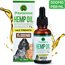 Pawsome Products Hemp Oil for Dogs, Cats & Pets | High Strength 15000mg / 30ml | Rich in Omega 3 & 6 | Stress/Anxiety/Pain Relief, Calming, Supporting Hip & Joint Health | Organic | UK Certified