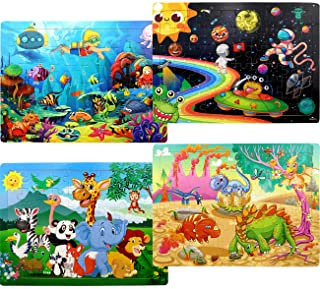 Puzzles for Kids Ages 4-8, 4 Pack Wooden Jigsaw Puzzles 60 Pieces Preschool Educational Learning Toys Set for Boys and Girls
