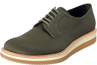 Prada Men's Olive Green Canvas Leather Lace Up Casual Oxfords Shoes Sz US 11 IT 10 EU 44
