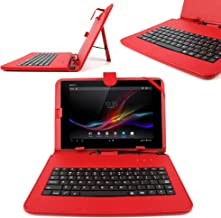 DURAGADGET Red Faux Leather Case Cover with Micro USB Keyboard - Suitable for Nokia Lumia 2520, Ampe A10 Quad Core Version 10.1-Inch IPS Android 4.0.4 Dual Camera Epad Apad Superpad Tablet PC