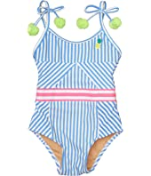 Cutout Back One-Piece Pinstripe Pineapple (Infant/Toddler)