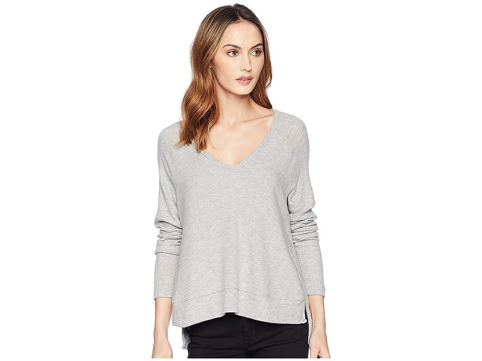 Three Dots Myra V-Neck Sweater (Granite) Women