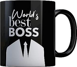 Worlds Best Boss Ever Coffee Mug Bosses Day Gifts Ideas Funny Present For My Greatest Boss Male or Female Men Women Great Office Gift Mugs Birthday Leaving Ceramic 11 oz Black Boss Mug