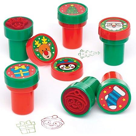 Baker Ross Tampons de Noël à Encre intégrée (Paquet de 10) - Loisirs créatifs pour Enfants AT251