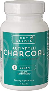 Gut Garden Activated Charcoal Highly Absorbent Capsules Aids in Detoxification, Promotes Gut Health and Relieves Gas and Bloating