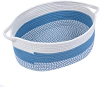 Furnily Cotton Rope Storage Basket Large Oval Woven Baby Baskets for Toys Collapsible Cotton Hamper Hand Made Laundry Basket with Handles(Off White and Blue)