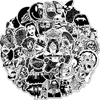 Punk Gothic Stickers of 50 Vinyl Black and White Decal Merchandise Laptop Stickers for Laptops, Computers, Hydro Flasks, S...