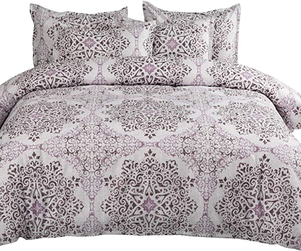 MIMONG Duvet Cover Set With Zipper Closure Purple Light Grey Damask Pattern Floral Print Design Soft Microfiber Bedding Queen Full Size 90 X90 3 Pieces 1 Duvet Cover 2 Pillow Cases