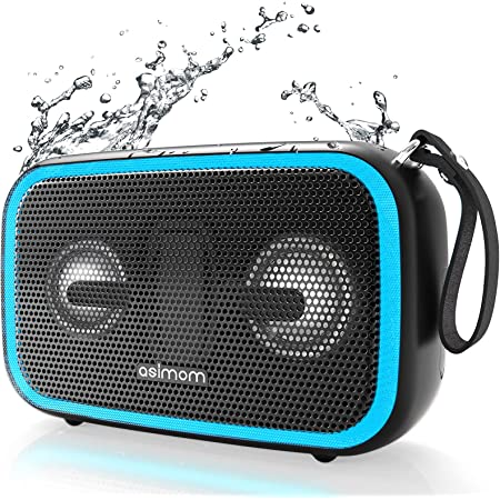 Bluetooth Speaker, ASIMOM IPX7 Waterproof Portable Speakers, Beat-Driven LED Light, Bluetooth 5.0, 28W Loud Bass, Build-in Mic, Wireless Stereo Pairing, Waterproof Bluetooth Speaker for Outdoor Beach