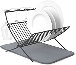 Umbra XDRY Dish Drying Rack and Microfiber Dish Mat – Space Saving Lightweight Design, Folds Up For Easy Storage, Charcoal