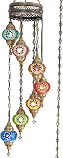 (10 Colors) 7 Globes Swag Plug in Turkish Moroccan Mosaic Bohemian Tiffany Ceiling Hanging Pendant Light Lamp Chandelier Lighting with 15feet Cord Chain US Plug, 50